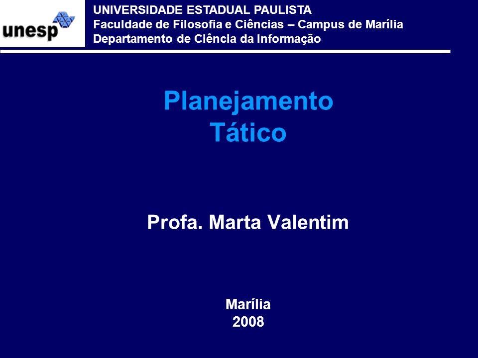 Planejamento Tático Profa. Marta Valentim Marília 2008 UNIVERSIDADE ESTADUAL PAULISTA Faculdade de Filosofia e Ciências – Campus de Marília Departamen