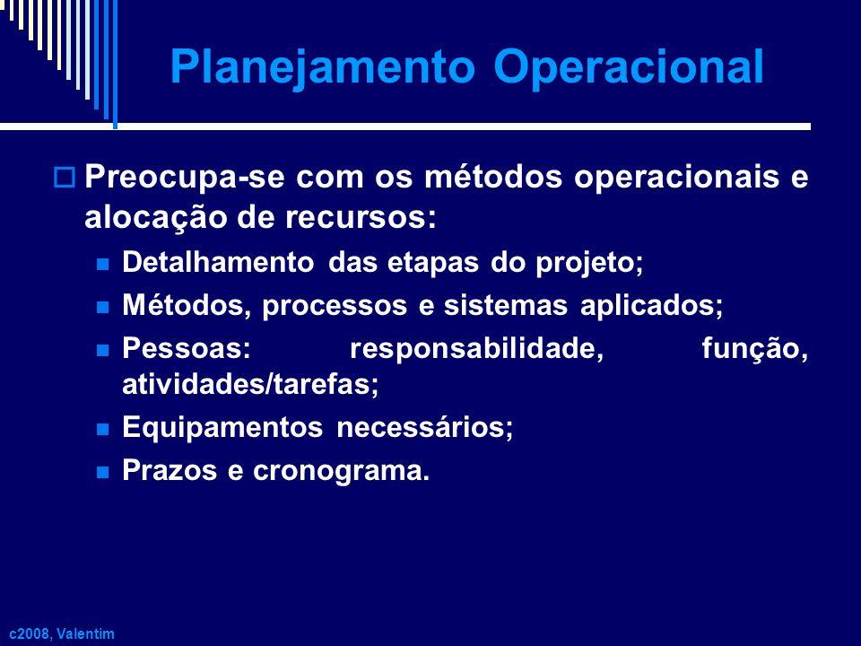 Planejamento Operacional Preocupa-se com os métodos operacionais e alocação de recursos: Detalhamento das etapas do projeto; Métodos, processos e sist