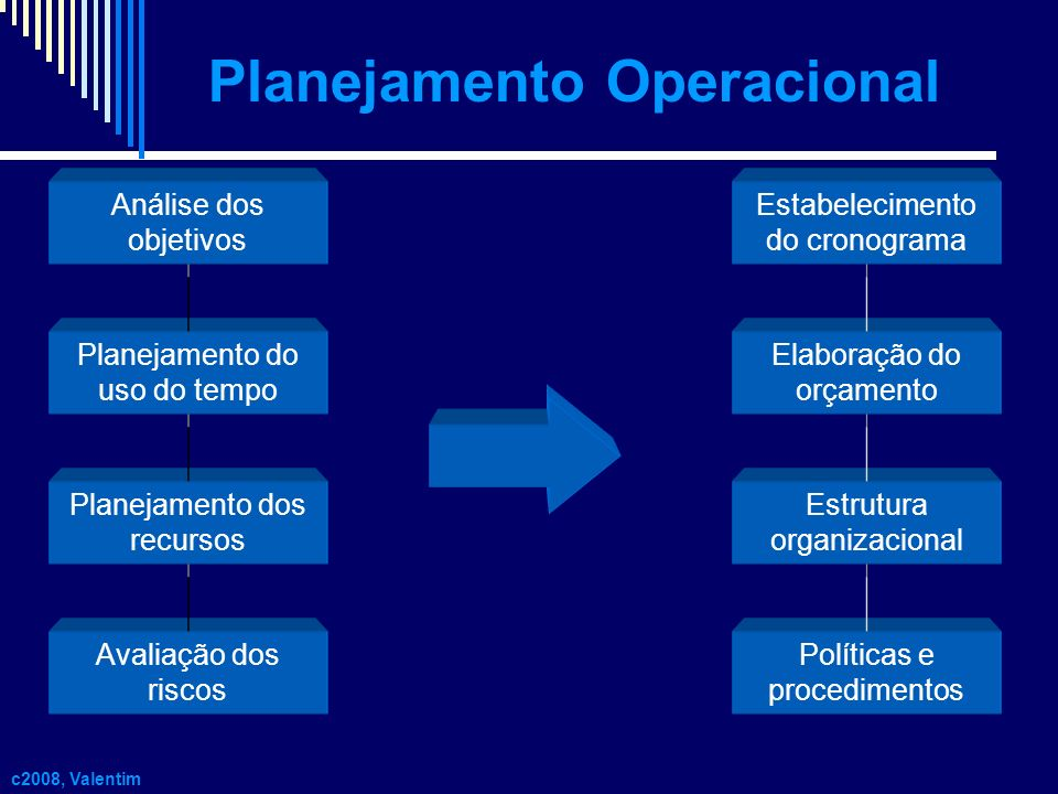 Análise dos objetivos Planejamento do uso do tempo Planejamento dos recursos Avaliação dos riscos Políticas e procedimentos Estrutura organizacional E
