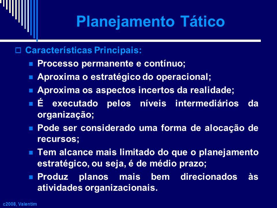Planejamento Tático Características Principais: Processo permanente e contínuo; Aproxima o estratégico do operacional; Aproxima os aspectos incertos d
