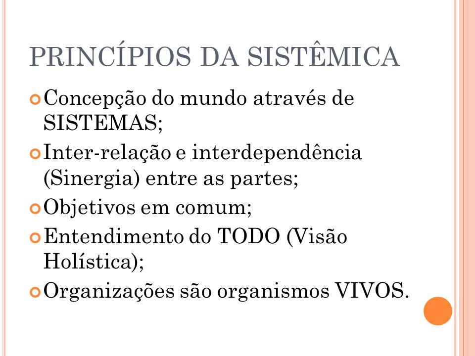 PRINCÍPIOS DA SISTÊMICA Concepção do mundo através de SISTEMAS; Inter-relação e interdependência (Sinergia) entre as partes; Objetivos em comum; Enten