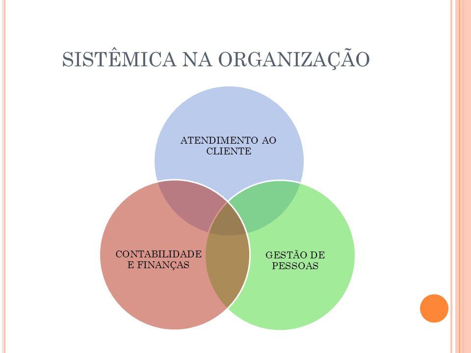 SISTÊMICA NA ORGANIZAÇÃO ATENDIMENTO AO CLIENTE GESTÃO DE PESSOAS CONTABILIDADE E FINANÇAS