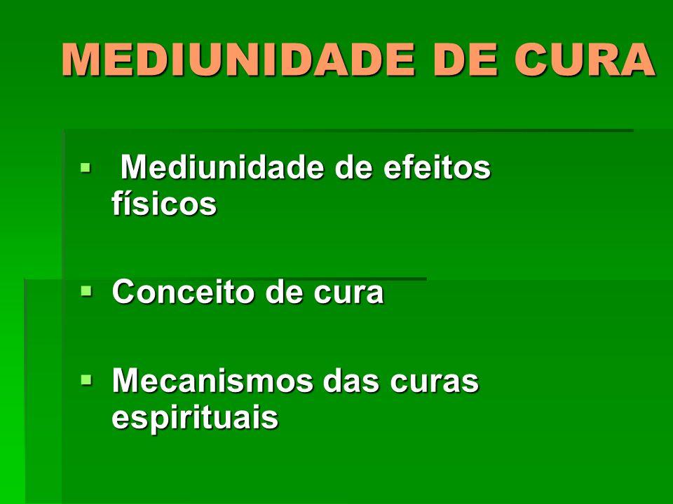 MEDIUNIDADE DE CURA Mediunidade de efeitos físicos Mediunidade de efeitos físicos Conceito de cura Conceito de cura Mecanismos das curas espirituais M
