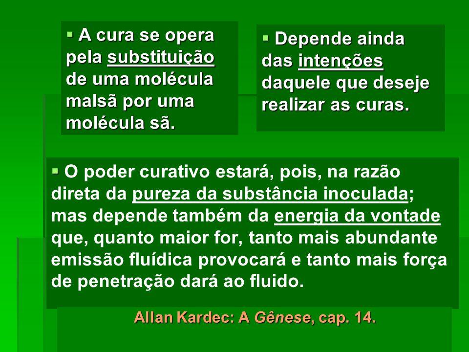 O poder curativo estará, pois, na razão direta da pureza da substância inoculada; mas depende também da energia da vontade que, quanto maior for, tant