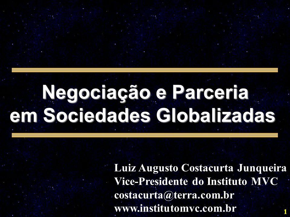 1 Negociação e Parceria em Sociedades Globalizadas Luiz Augusto Costacurta Junqueira Vice-Presidente do Instituto MVC costacurta@terra.com.br www.institutomvc.com.br
