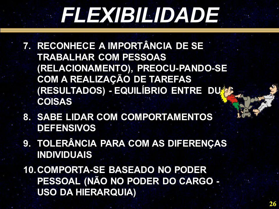 26 FLEXIBILIDADE 7.RECONHECE A IMPORTÂNCIA DE SE TRABALHAR COM PESSOAS (RELACIONAMENTO), PREOCU-PANDO-SE COM A REALIZAÇÃO DE TAREFAS (RESULTADOS) - EQUILÍBRIO ENTRE DUAS COISAS 8.SABE LIDAR COM COMPORTAMENTOS DEFENSIVOS 9.TOLERÂNCIA PARA COM AS DIFERENÇAS INDIVIDUAIS 10.COMPORTA-SE BASEADO NO PODER PESSOAL (NÃO NO PODER DO CARGO - USO DA HIERARQUIA) 7.RECONHECE A IMPORTÂNCIA DE SE TRABALHAR COM PESSOAS (RELACIONAMENTO), PREOCU-PANDO-SE COM A REALIZAÇÃO DE TAREFAS (RESULTADOS) - EQUILÍBRIO ENTRE DUAS COISAS 8.SABE LIDAR COM COMPORTAMENTOS DEFENSIVOS 9.TOLERÂNCIA PARA COM AS DIFERENÇAS INDIVIDUAIS 10.COMPORTA-SE BASEADO NO PODER PESSOAL (NÃO NO PODER DO CARGO - USO DA HIERARQUIA)