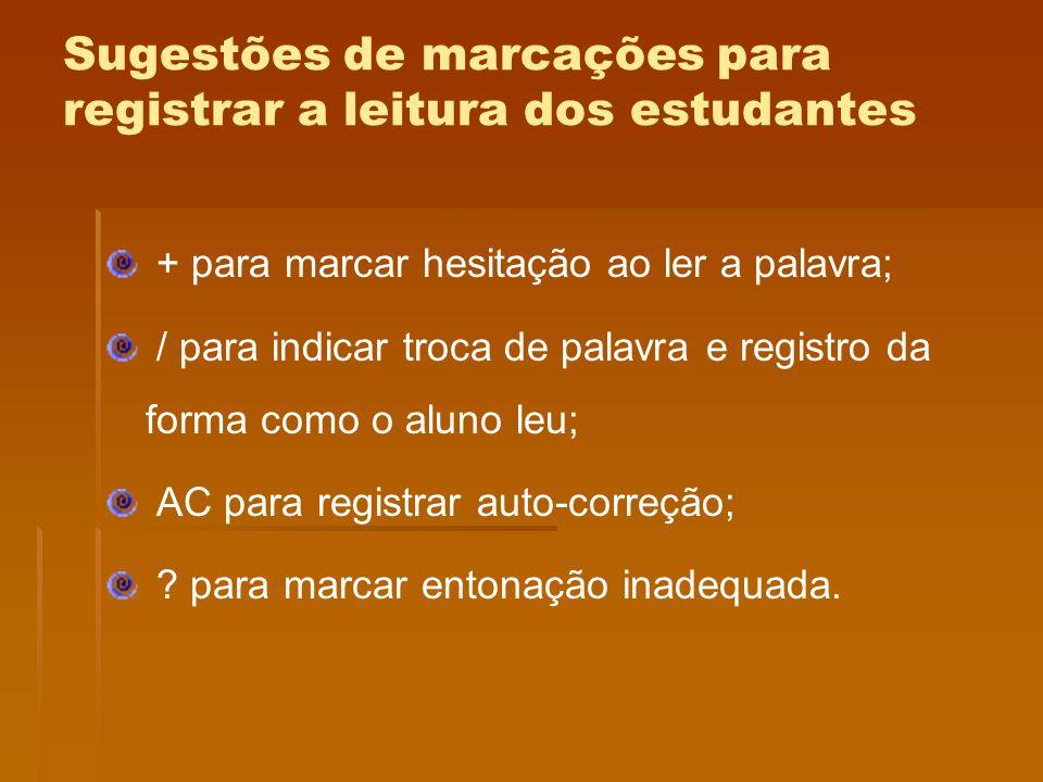 Sugestões de marcações para registrar a leitura dos estudantes + para marcar hesitação ao ler a palavra; / para indicar troca de palavra e registro da
