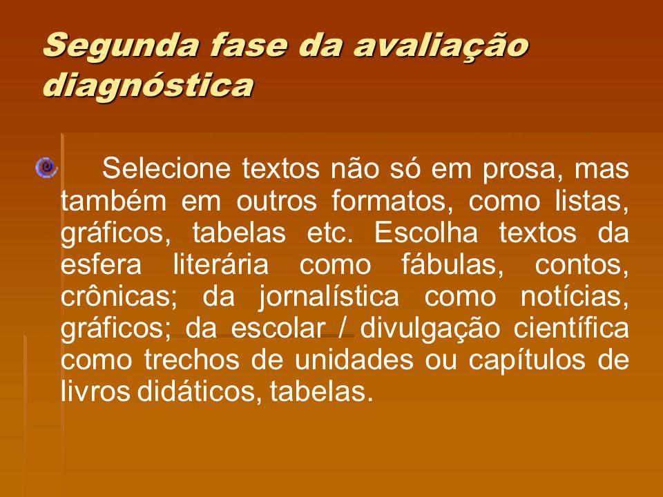 Segunda fase da avaliação diagnóstica Selecione textos não só em prosa, mas também em outros formatos, como listas, gráficos, tabelas etc. Escolha tex