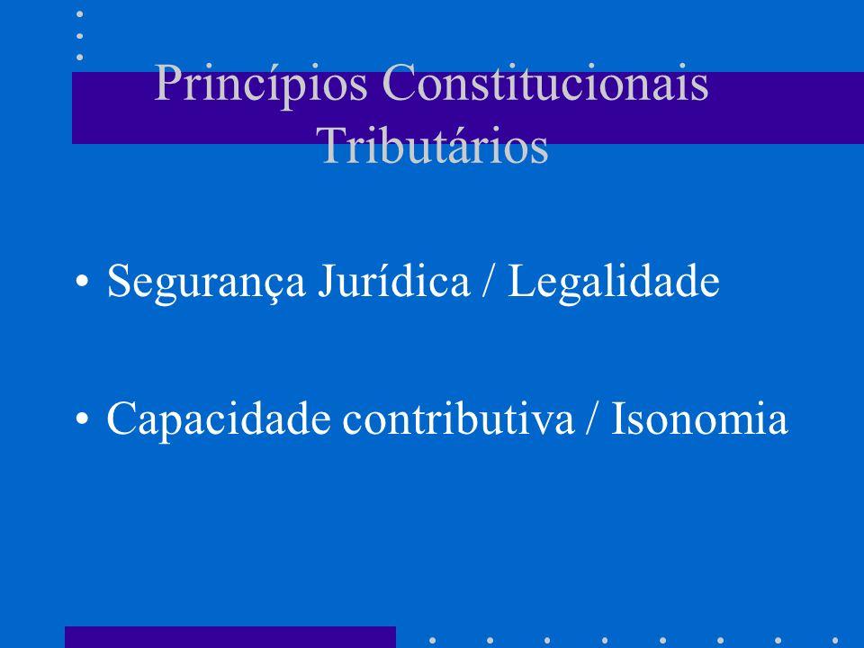 Princípios Constitucionais Tributários Segurança Jurídica / Legalidade Capacidade contributiva / Isonomia