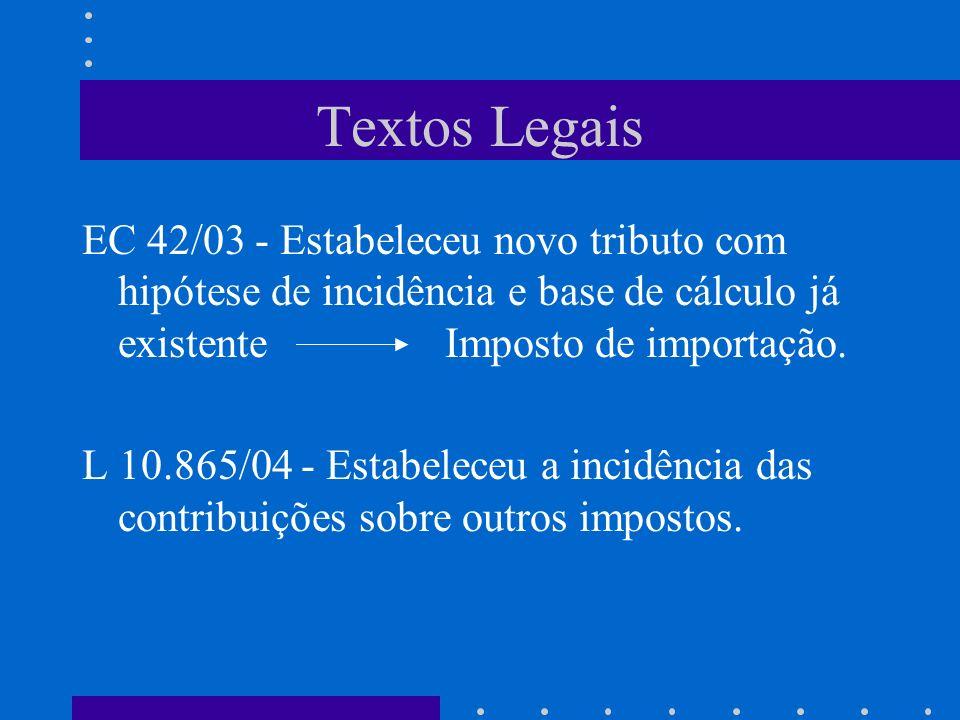 Textos Legais EC 42/03 - Estabeleceu novo tributo com hipótese de incidência e base de cálculo já existente Imposto de importação. L 10.865/04 - Estab