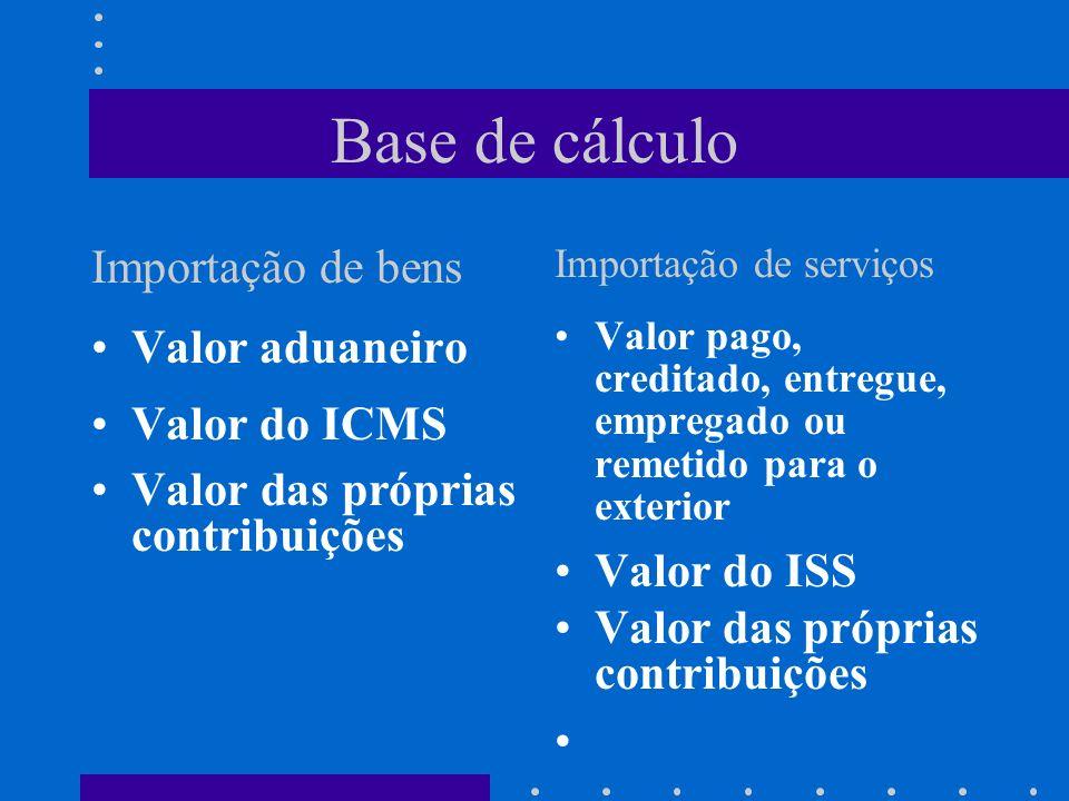 Base de cálculo Importação de bens Importação de serviços Valor aduaneiro Valor do ICMS Valor das próprias contribuições Valor pago, creditado, entreg