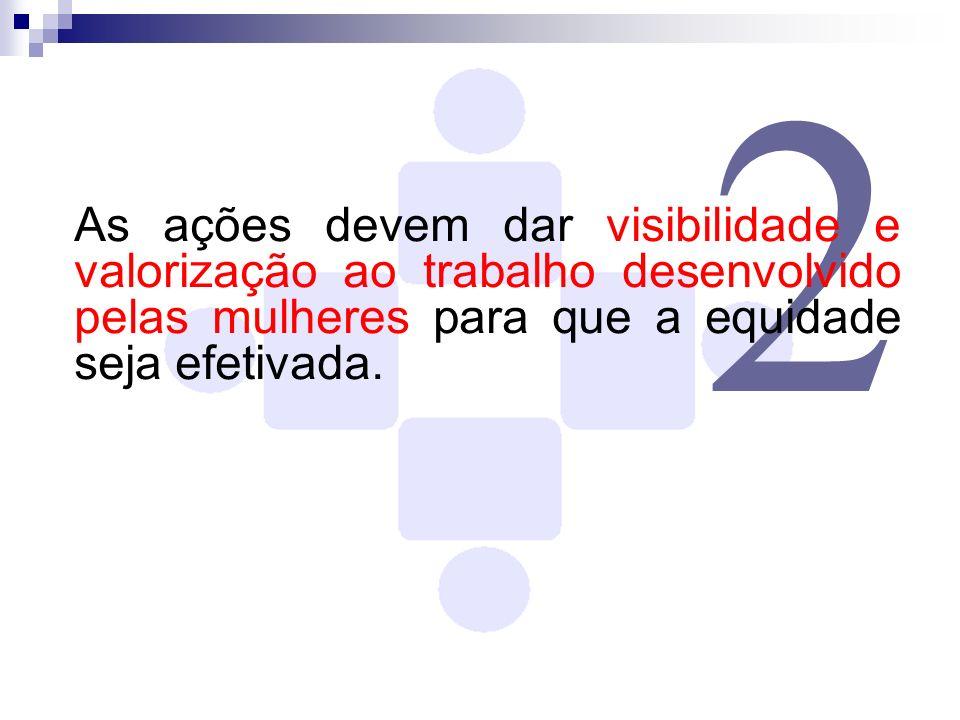 2 As ações devem dar visibilidade e valorização ao trabalho desenvolvido pelas mulheres para que a equidade seja efetivada.