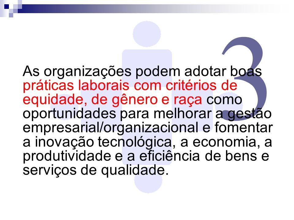3 As organizações podem adotar boas práticas laborais com critérios de equidade, de gênero e raça como oportunidades para melhorar a gestão empresaria