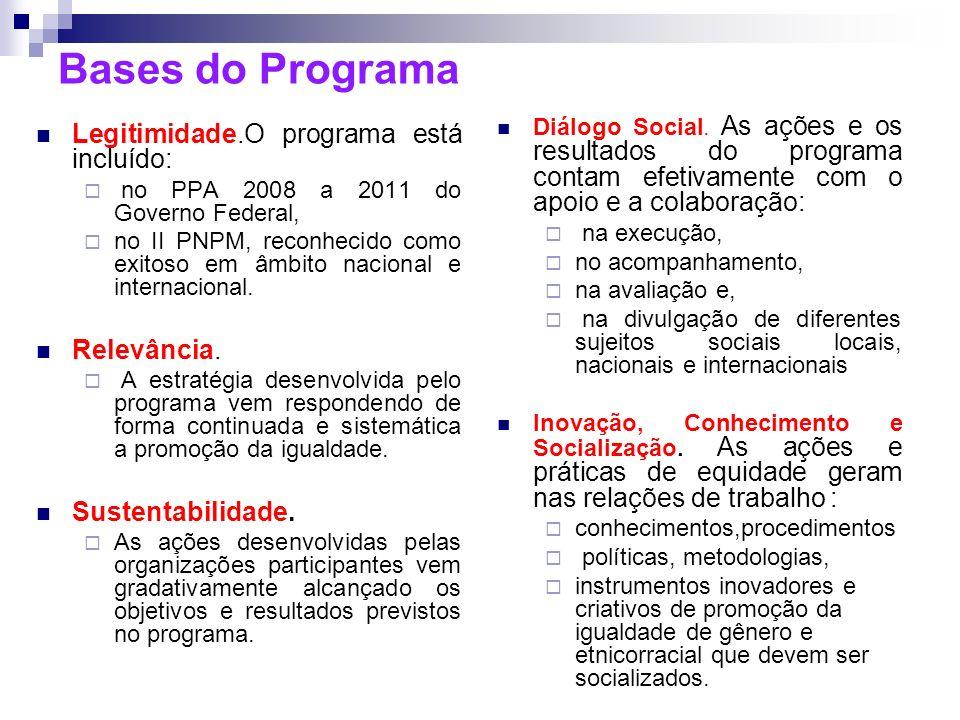 Bases do Programa Legitimidade.O programa está incluído: no PPA 2008 a 2011 do Governo Federal, no II PNPM, reconhecido como exitoso em âmbito naciona