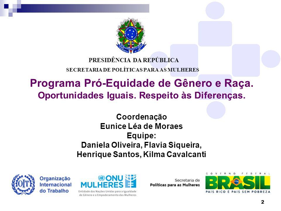 2 PRESIDÊNCIA DA REPÚBLICA SECRETARIA DE POLÍTICAS PARA AS MULHERES Programa Pró-Equidade de Gênero e Raça. Oportunidades Iguais. Respeito às Diferenç