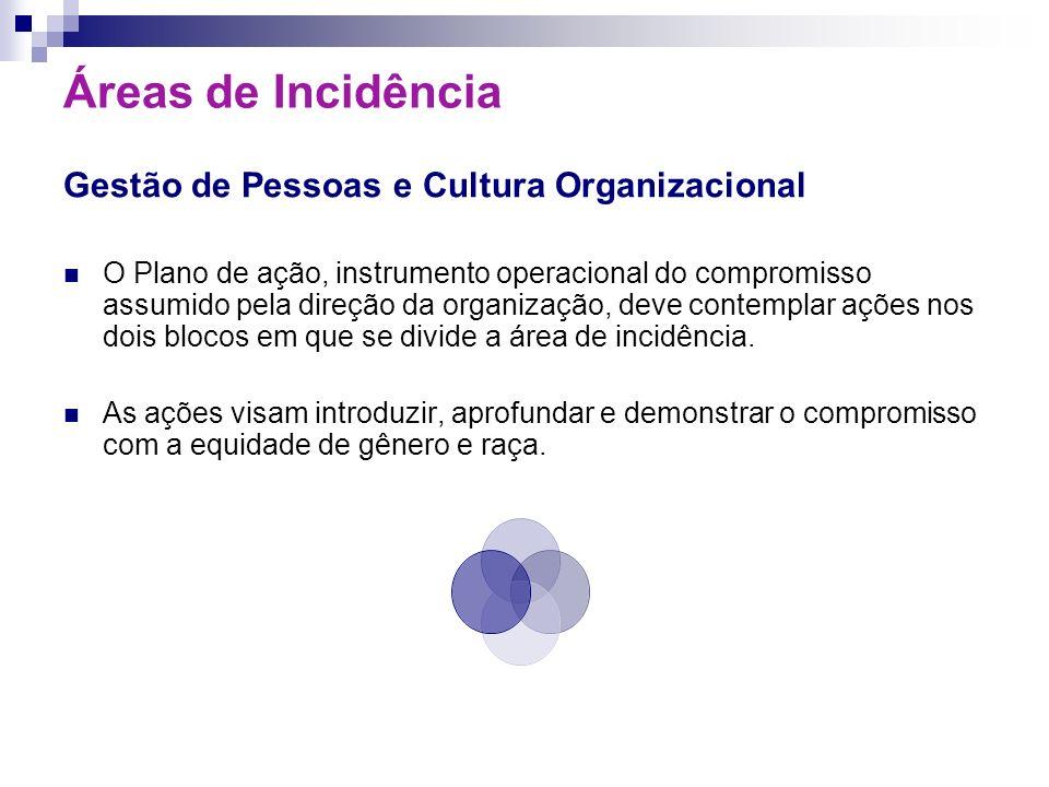Áreas de Incidência Gestão de Pessoas e Cultura Organizacional O Plano de ação, instrumento operacional do compromisso assumido pela direção da organi