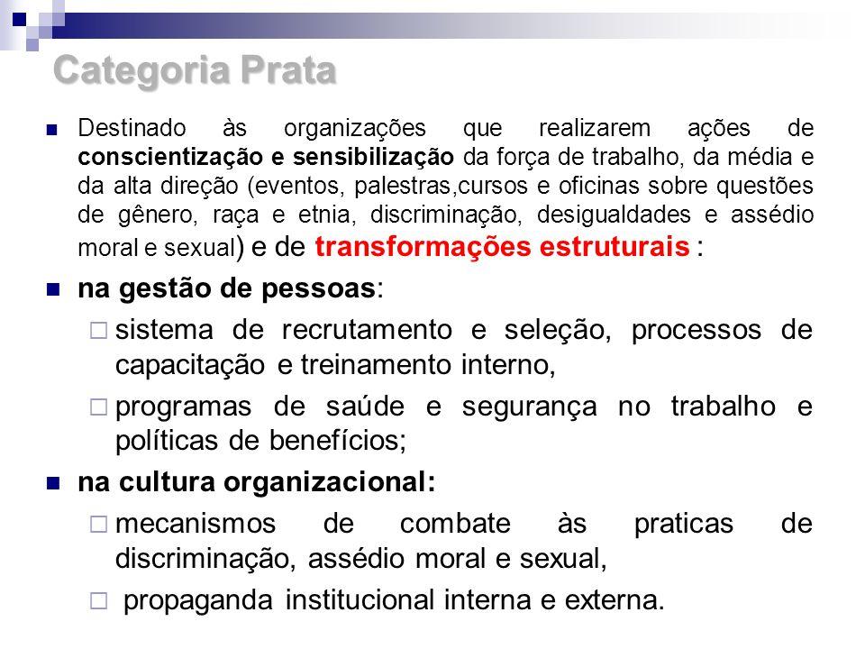 Categoria Prata Destinado às organizações que realizarem ações de conscientização e sensibilização da força de trabalho, da média e da alta direção (e