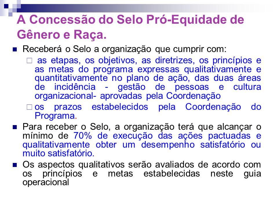 A Concessão do Selo Pró-Equidade de Gênero e Raça. Receberá o Selo a organização que cumprir com: as etapas, os objetivos, as diretrizes, os princípio