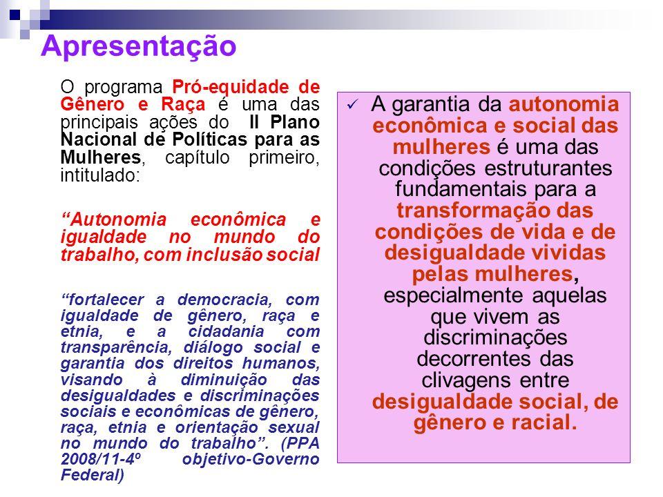 Institucionalidade O Programa Pró-Equidade de Gênero e Raça é uma iniciativa do Governo Federal, que, por meio da Secretaria de Políticas para as Mulheres da Presidência da República – SPM/PR reafirma os compromissos de promoção da igualdade entre mulheres e homens inscrita na Constituição Federal de 1988.