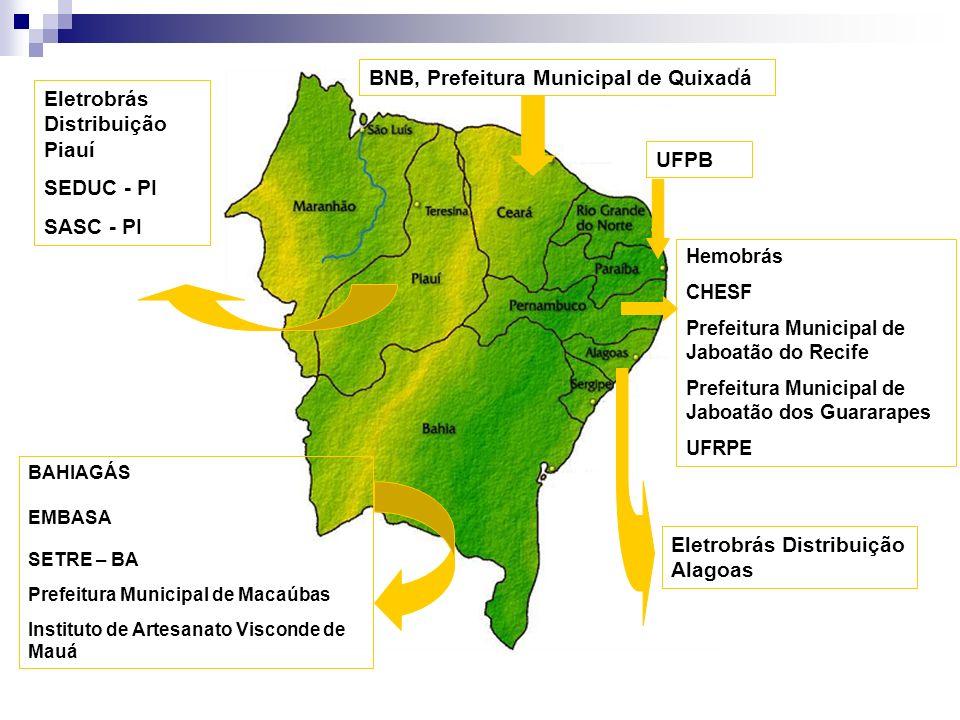 BNB, Prefeitura Municipal de Quixadá BAHIAGÁS EMBASA SETRE – BA Prefeitura Municipal de Macaúbas Instituto de Artesanato Visconde de Mauá Eletrobrás D
