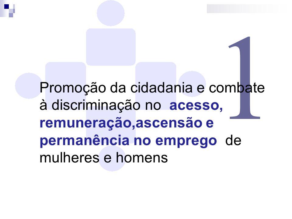 1 Promoção da cidadania e combate à discriminação no acesso, remuneração,ascensão e permanência no emprego de mulheres e homens