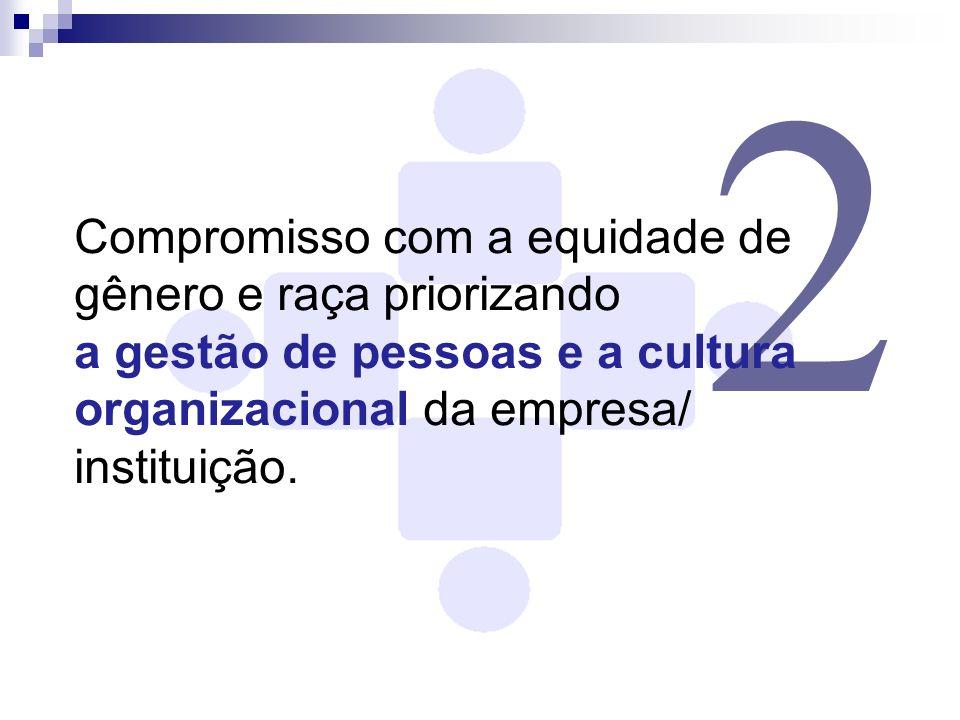2 Compromisso com a equidade de gênero e raça priorizando a gestão de pessoas e a cultura organizacional da empresa/ instituição.