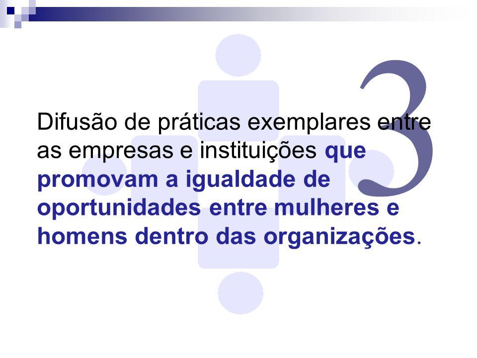 3 Difusão de práticas exemplares entre as empresas e instituições que promovam a igualdade de oportunidades entre mulheres e homens dentro das organiz