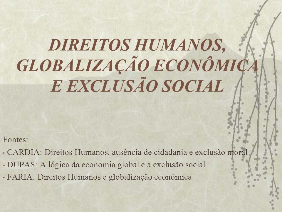 DIREITOS HUMANOS, GLOBALIZAÇÃO ECONÔMICA E EXCLUSÃO SOCIAL Fontes: CARDIA: Direitos Humanos, ausência de cidadania e exclusão moral DUPAS: A lógica da