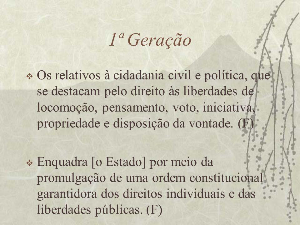 1ª Geração Os relativos à cidadania civil e política, que se destacam pelo direito às liberdades de locomoção, pensamento, voto, iniciativa, proprieda