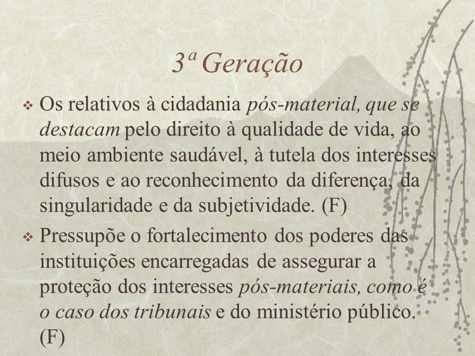3ª Geração Os relativos à cidadania pós-material, que se destacam pelo direito à qualidade de vida, ao meio ambiente saudável, à tutela dos interesses