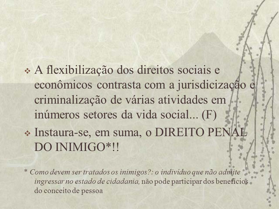 A flexibilização dos direitos sociais e econômicos contrasta com a jurisdicização e criminalização de várias atividades em inúmeros setores da vida so