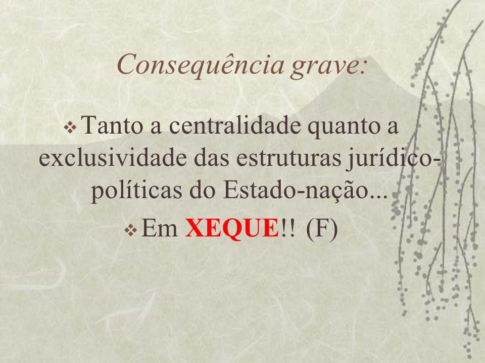 Consequência grave: Tanto a centralidade quanto a exclusividade das estruturas jurídico- políticas do Estado-nação... Em XEQUE!! (F)