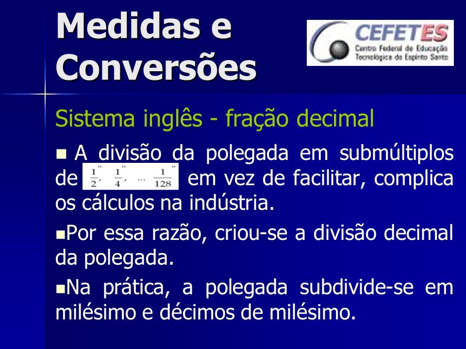 Medidas e Conversões Sistema inglês - fração decimal A divisão da polegada em submúltiplos de em vez de facilitar, complica os cálculos na indústria.
