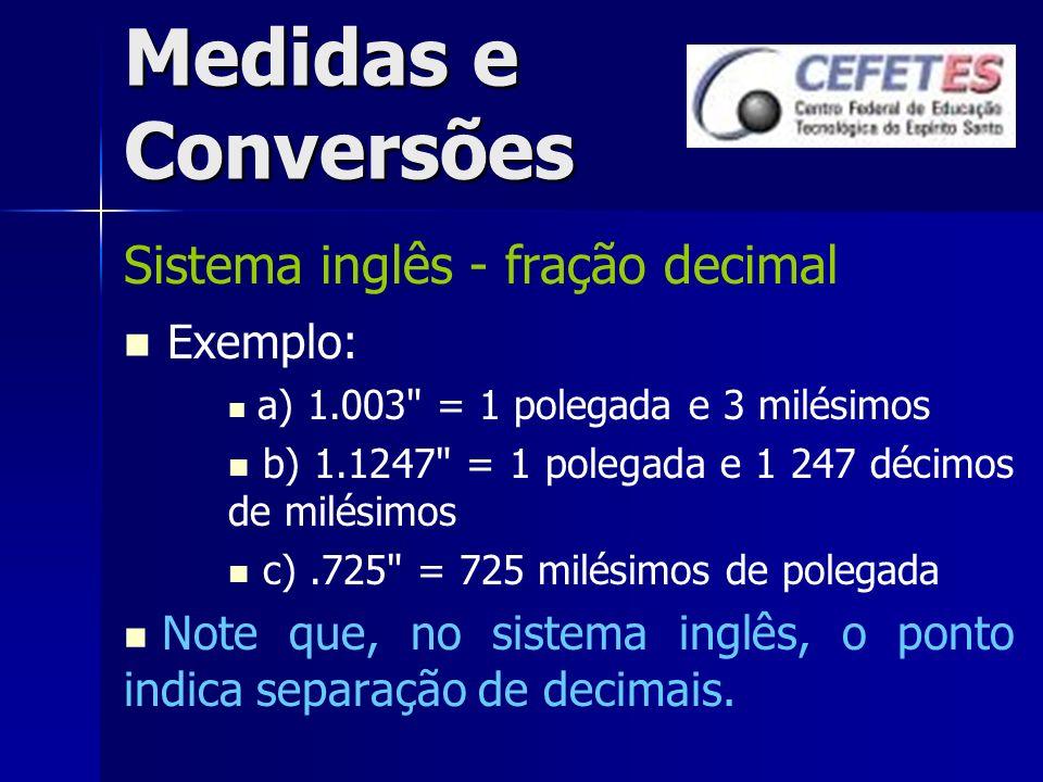 Medidas e Conversões Sistema inglês - fração decimal Exemplo: a) 1.003