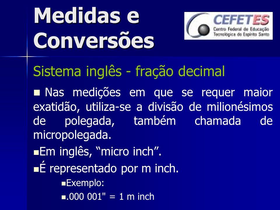 Medidas e Conversões Sistema inglês - fração decimal Nas medições em que se requer maior exatidão, utiliza-se a divisão de milionésimos de polegada, t