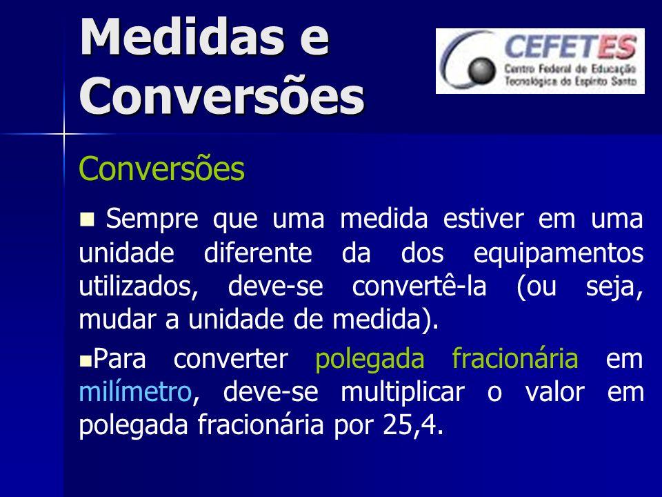 Medidas e Conversões Conversões Sempre que uma medida estiver em uma unidade diferente da dos equipamentos utilizados, deve-se convertê-la (ou seja, m