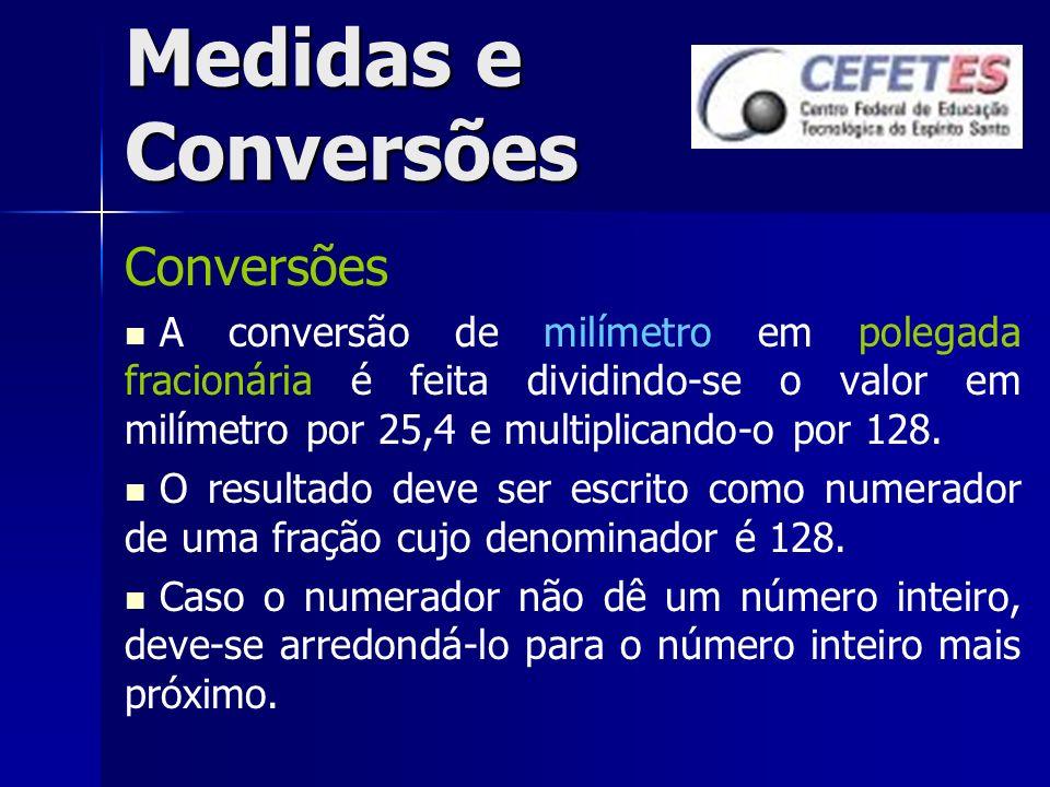 Medidas e Conversões Conversões A conversão de milímetro em polegada fracionária é feita dividindo-se o valor em milímetro por 25,4 e multiplicando-o