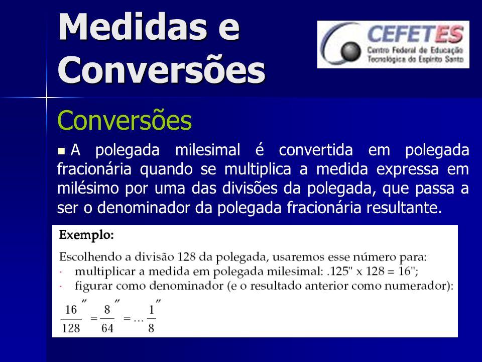 Medidas e Conversões Conversões A polegada milesimal é convertida em polegada fracionária quando se multiplica a medida expressa em milésimo por uma d