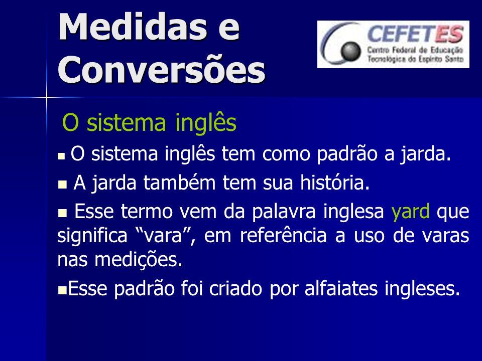 Medidas e Conversões Conversões Sempre que uma medida estiver em uma unidade diferente da dos equipamentos utilizados, deve-se convertê-la (ou seja, mudar a unidade de medida).