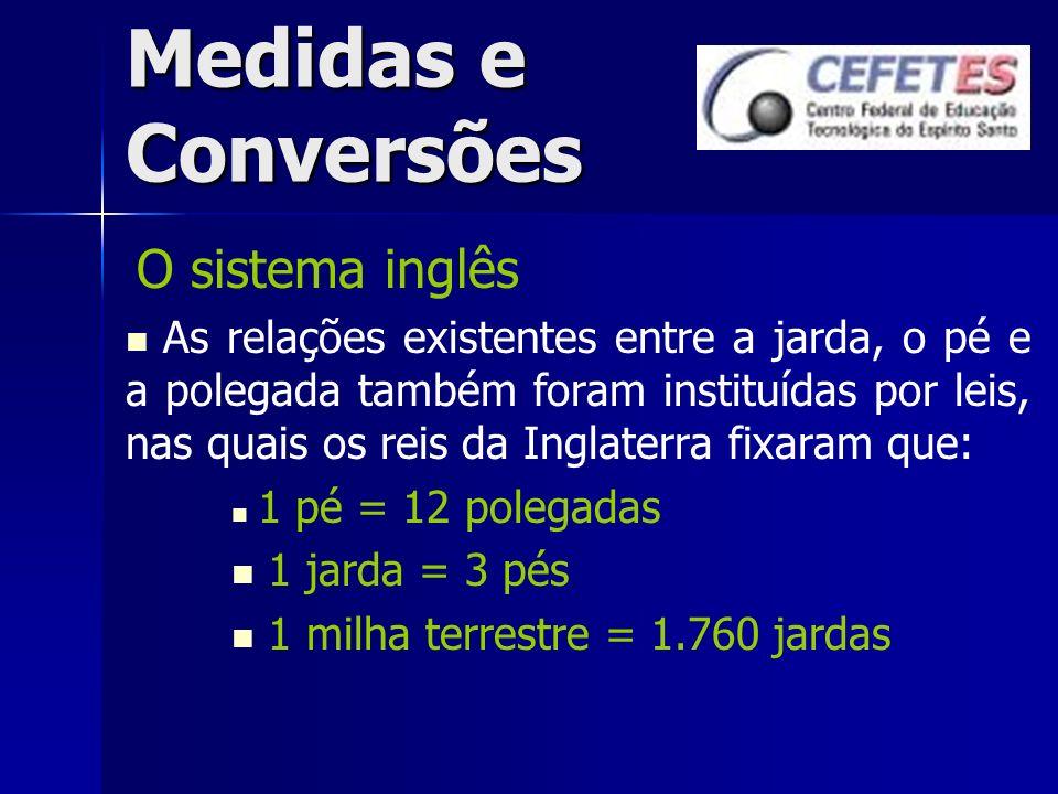 Medidas e Conversões O sistema inglês As relações existentes entre a jarda, o pé e a polegada também foram instituídas por leis, nas quais os reis da