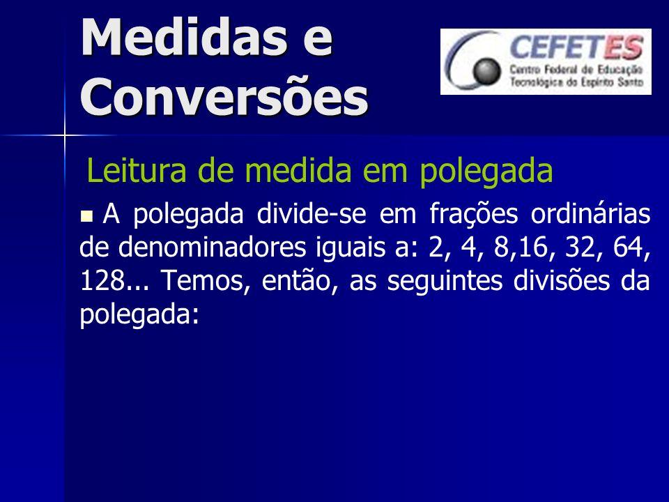 Medidas e Conversões Leitura de medida em polegada A polegada divide-se em frações ordinárias de denominadores iguais a: 2, 4, 8,16, 32, 64, 128... Te