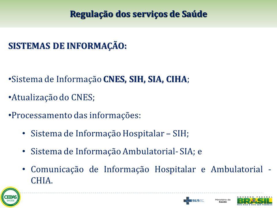 SISTEMAS DE INFORMAÇÃO: CNES, SIH, SIA, CIHA Sistema de Informação CNES, SIH, SIA, CIHA; Atualização do CNES; Processamento das informações: Sistema d