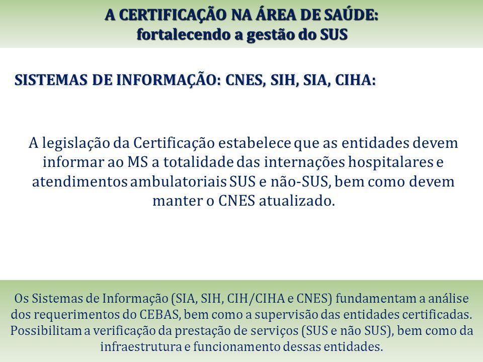 SISTEMAS DE INFORMAÇÃO: CNES, SIH, SIA, CIHA: A legislação da Certificação estabelece que as entidades devem informar ao MS a totalidade das internaçõ
