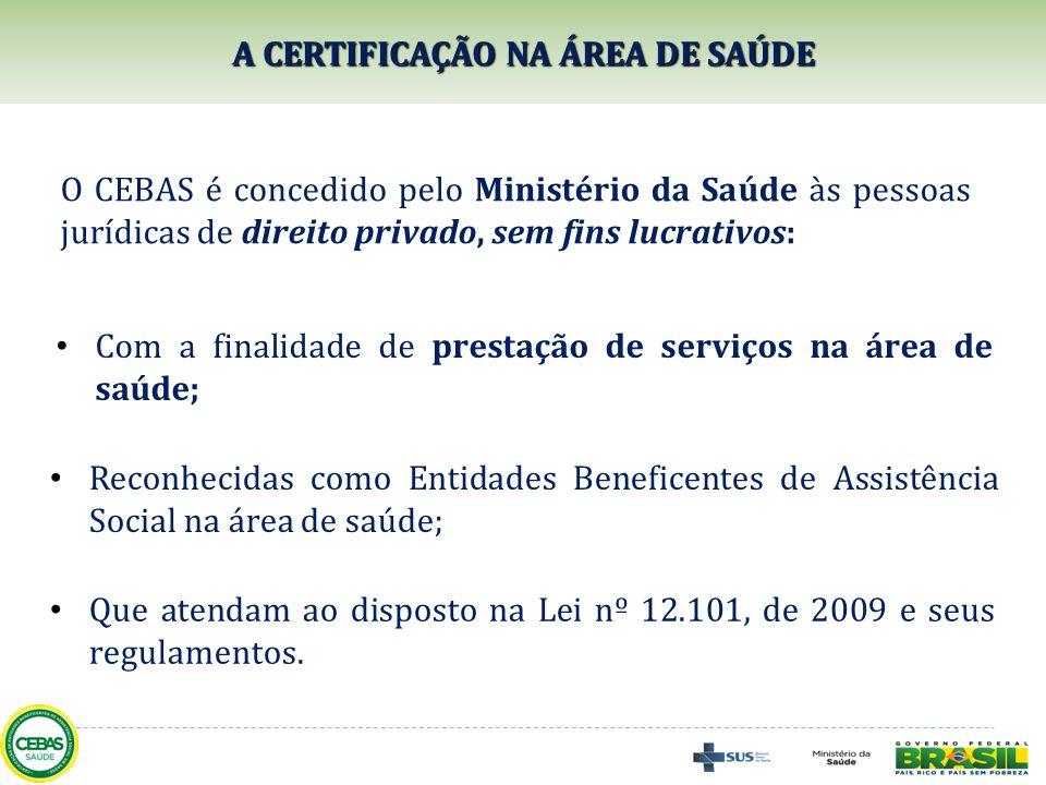 O CEBAS é concedido pelo Ministério da Saúde às pessoas jurídicas de direito privado, sem fins lucrativos: A CERTIFICAÇÃO NA ÁREA DE SAÚDE Com a final