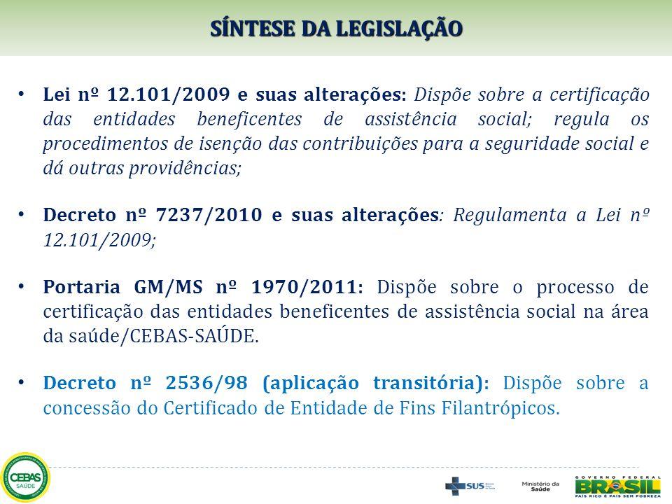 SÍNTESE DA LEGISLAÇÃO Lei nº 12.101/2009 e suas alterações: Dispõe sobre a certificação das entidades beneficentes de assistência social; regula os pr