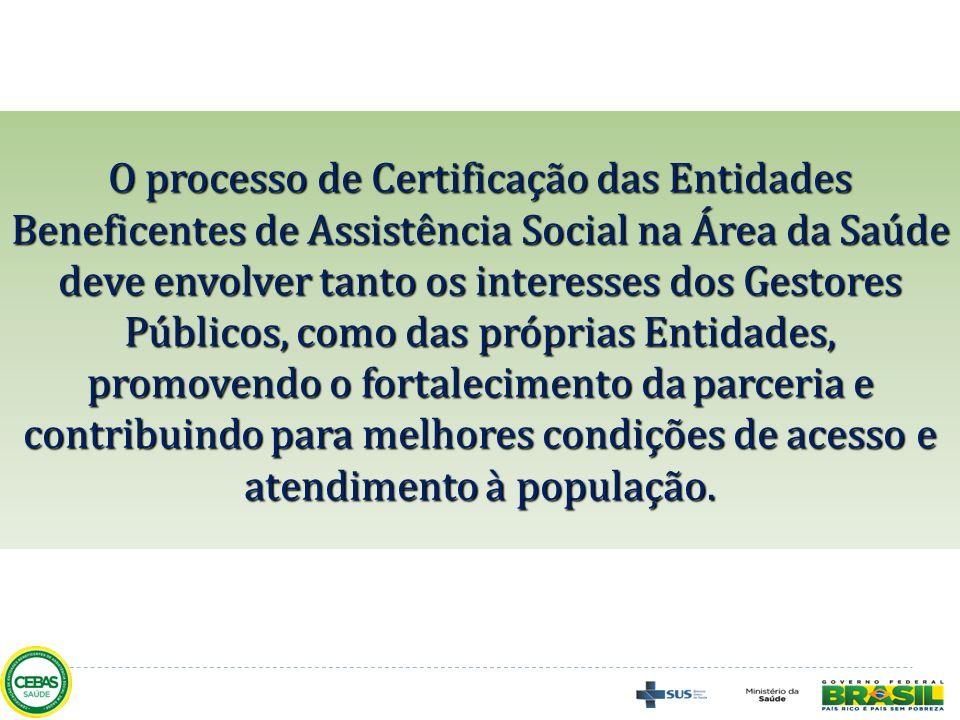 O processo de Certificação das Entidades Beneficentes de Assistência Social na Área da Saúde deve envolver tanto os interesses dos Gestores Públicos,