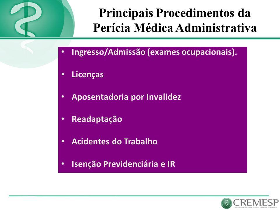 Principais Procedimentos da Perícia Médica Administrativa Ingresso/Admissão (exames ocupacionais). Licenças Aposentadoria por Invalidez Readaptação Ac