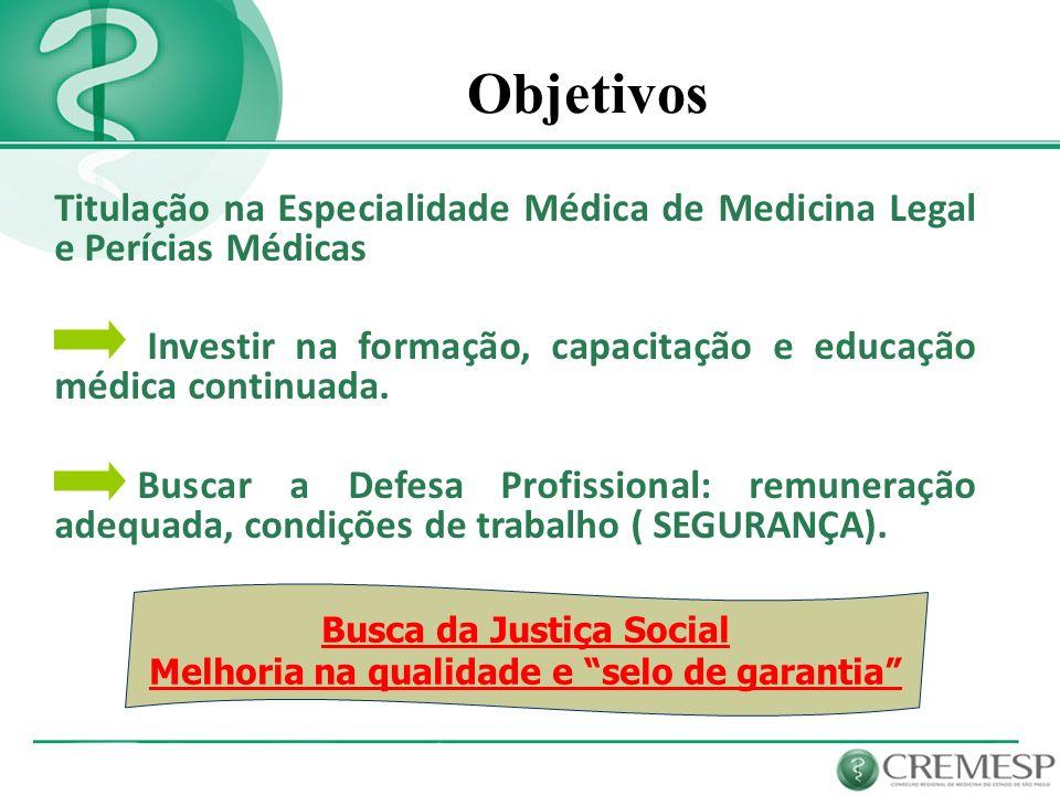 Objetivos Titulação na Especialidade Médica de Medicina Legal e Perícias Médicas Investir na formação, capacitação e educação médica continuada. Busca
