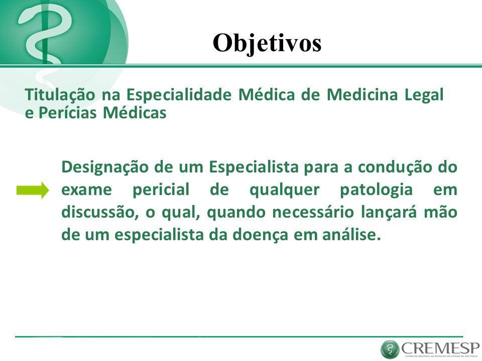 Objetivos Titulação na Especialidade Médica de Medicina Legal e Perícias Médicas Designação de um Especialista para a condução do exame pericial de qu