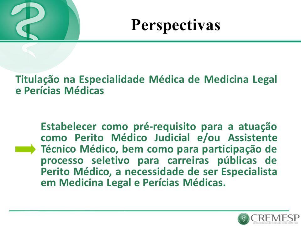 Perspectivas Titulação na Especialidade Médica de Medicina Legal e Perícias Médicas Estabelecer como pré-requisito para a atuação como Perito Médico J